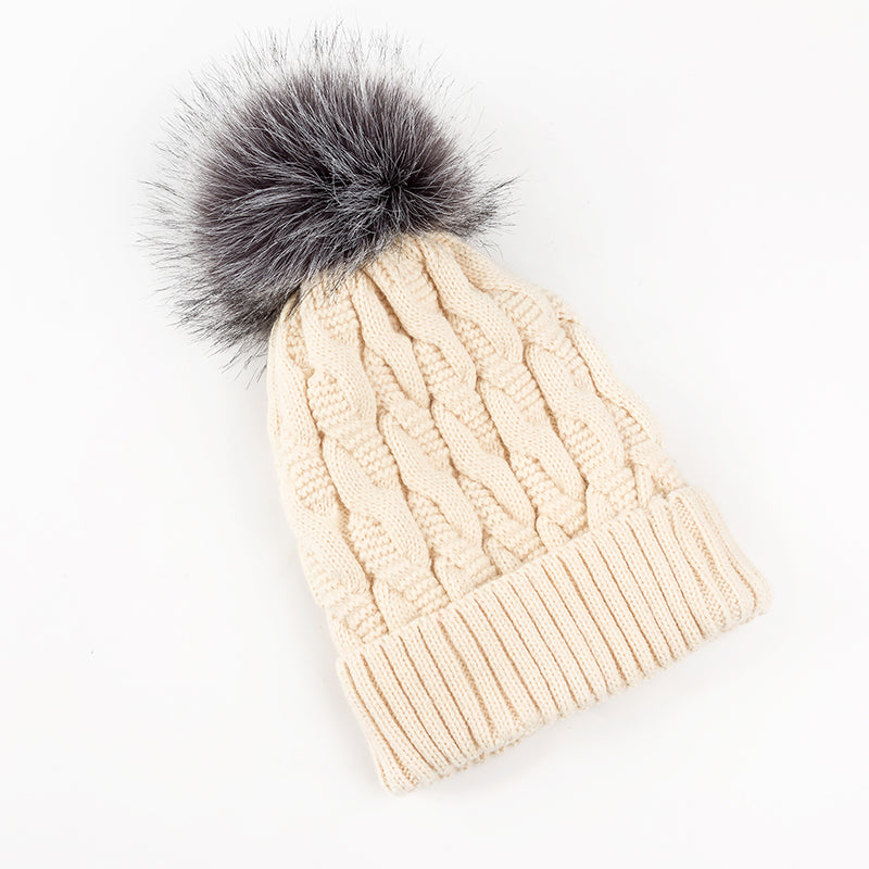 Women Lining Knitted Winter Hats Warm Fur Pompom Cap Beanies For Women