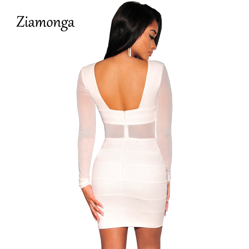 25409dc7694 ... Bandage Dress Winter Black White Dress Long Sleeve Mesh Patchwork Hollow  Out Pencil Bodycon Dress ...