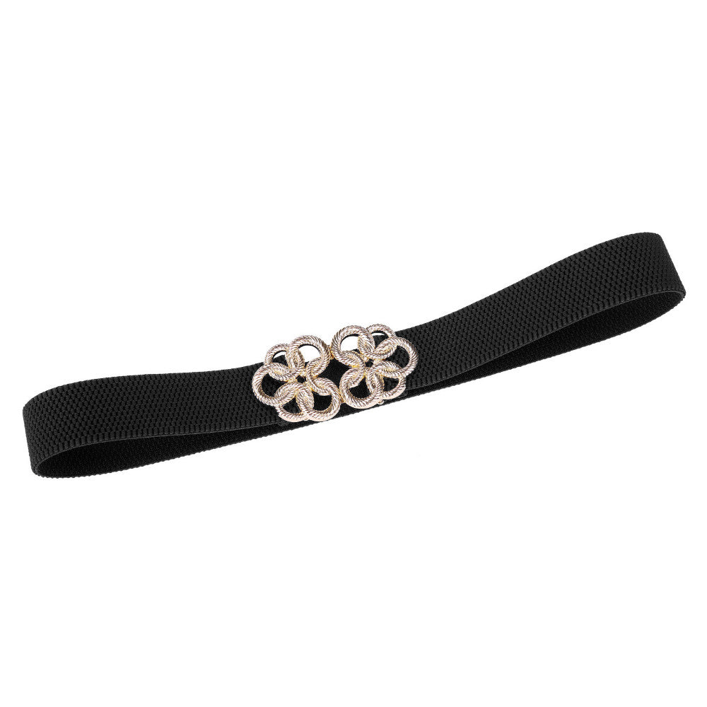 Women Belt Metal Floral Interlock Buckle Elastic Waist Belt Vintage Waistband Luxury Belts For Dress