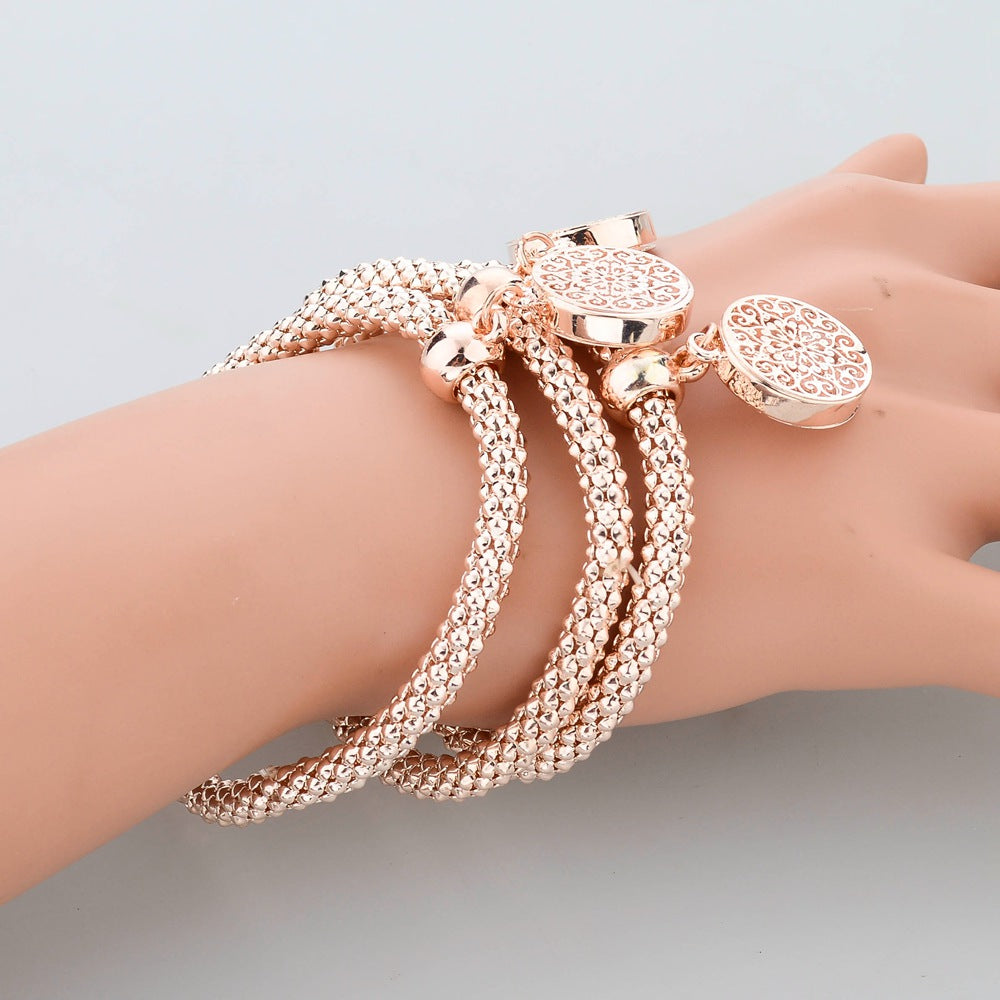 Fashion Bangles Chain Bracelet Round Hollow Charm Bracelets For Women - Style Lavish