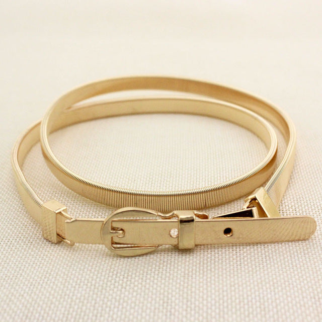 20 Style Luxury Women Waist Belt Clasp Front Stretch Metal Waistband Elastic Stretch Strap Belts - Style Lavish