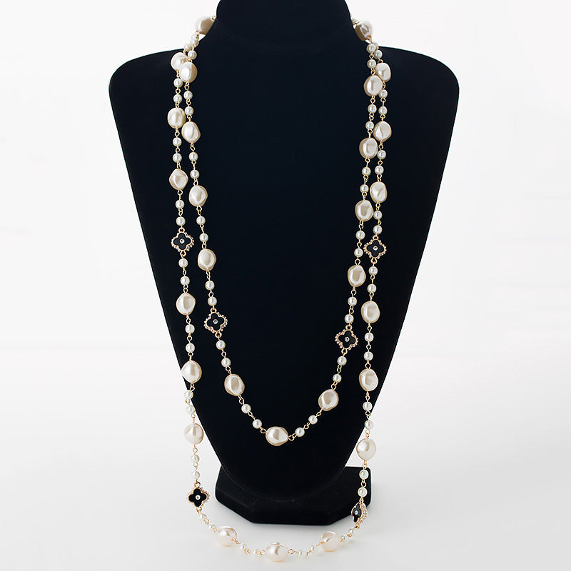 Simulated Pearl Long Necklaces For Women Gold Color Chain Rhinestone Four Leaf Clovers Strand Beads Sweater Necklace