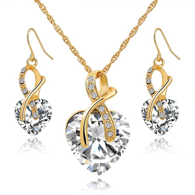 LongWay Austrian Crystal Necklace Earrings Set Gold Color Heart Crystal Jewelry Set For Women