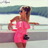 Women Fashion Casual Ruffles Strapless Waist Tightening Rompers Candy Color Dress