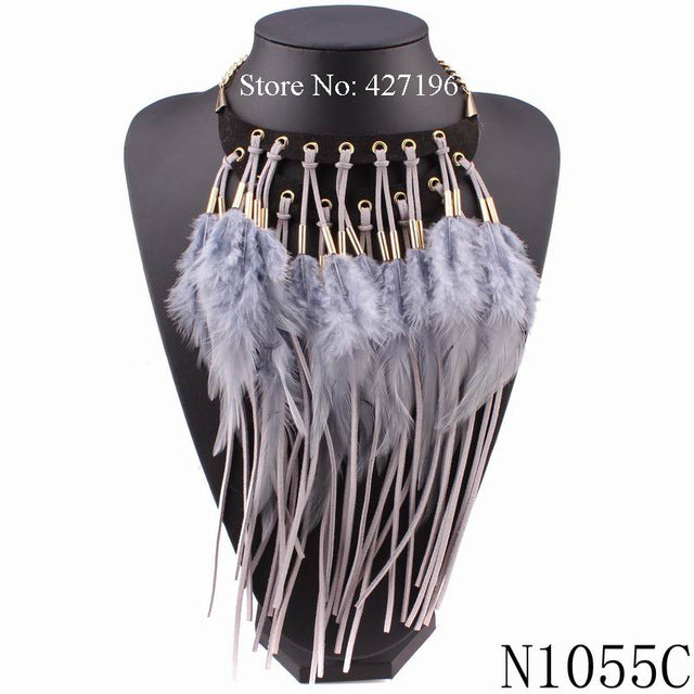 Women  Autumn Chunky Statement Chain Pendant Choker Feather Necklace