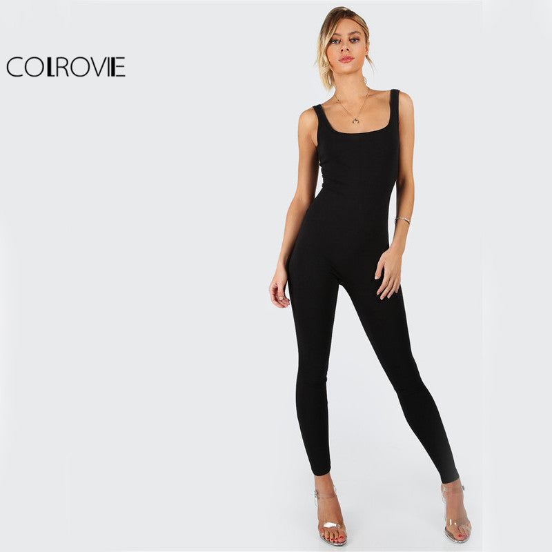 Black Bodycon Jumpsuit Women Sleeveless Brief Slim Basic Tank Jumpsuits Fashion Scoop Neck Skinny Jumpsuit - Style Lavish