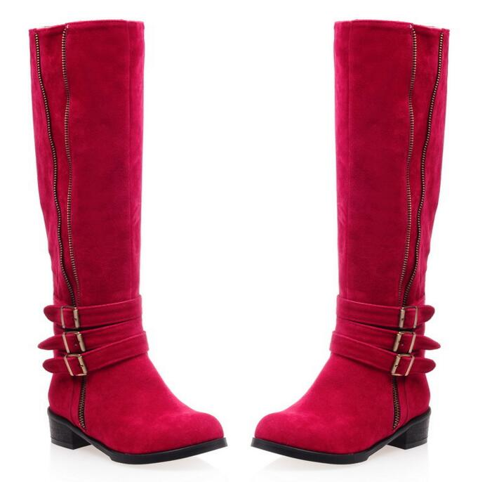 Knee High Boots Square Heel Martin Motorcycle Boots Woman Warm Winter Shoes Fashion Side Zip