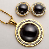 Necklace Earrings Sets Women Stainless Steel Jewelry Antique Gold Silver Color
