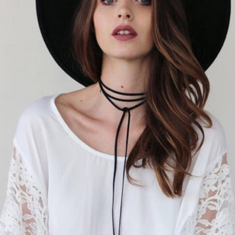 Wrap Choker Necklace Women Circular Tube Long Wool Black Punk Choker Collar Velvet Gothic