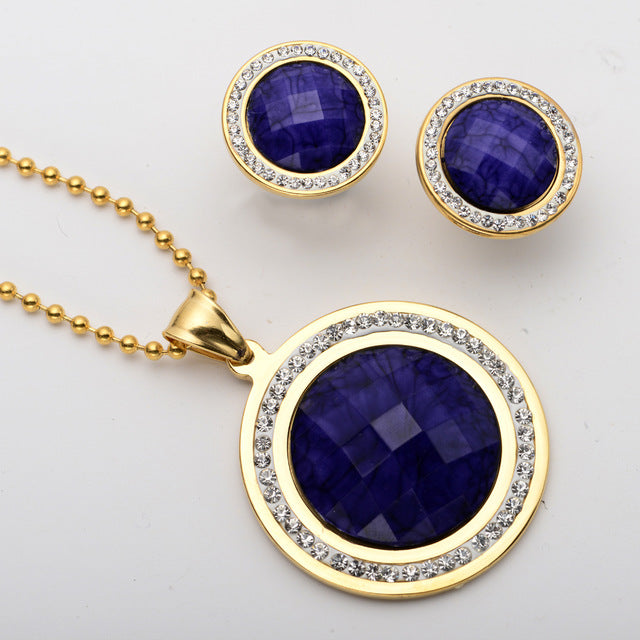 Women Necklace Earrings Sets Women Stainless Steel Jewelry Antique Gold Silver Color W Crystal