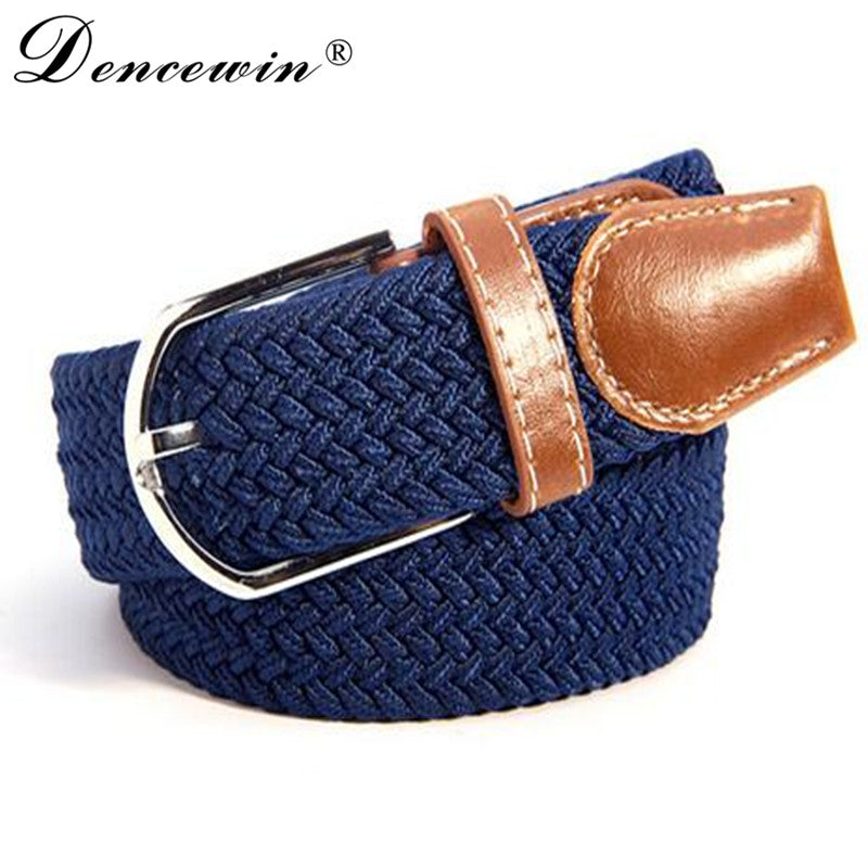 Men Women's Canvas Plain Webbing Metal Buckle Woven Stretch Waist Belt