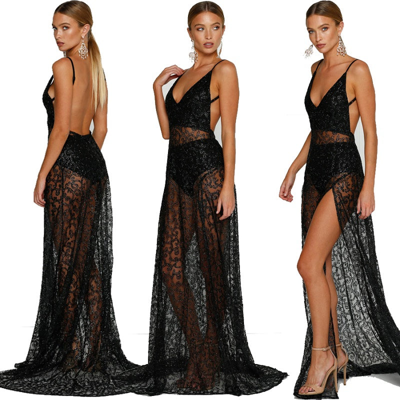 Women Sheer Lace Maxi Dress V Neck Long Backless Dress