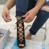 Women Pumps High Heels Cut Outs Lace Up Open Toe Party Shoes Woman Gladiator Sandals - Style Lavish