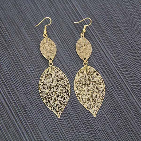 Sheet Copper Stamping Hollow Out Flowers Leaves Butterfly Earrings Bronze Color Round Earring Antique Gold Jewelry