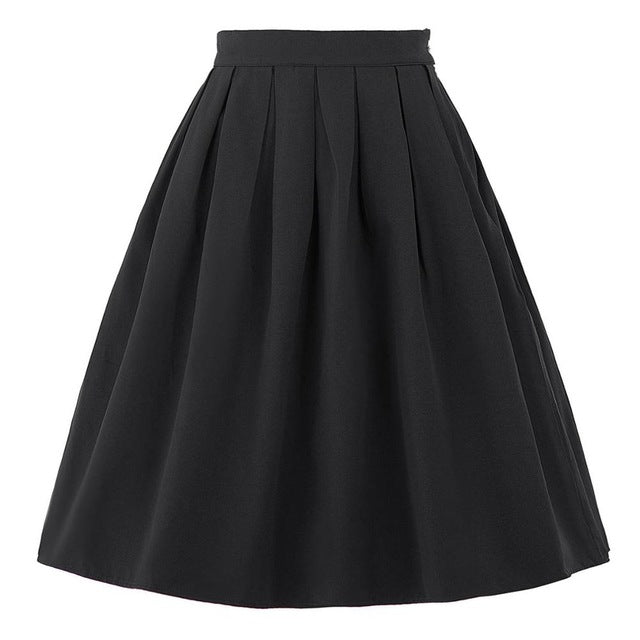 Women Summer Fashion Midi Skirts High Waist Vintage Skirt