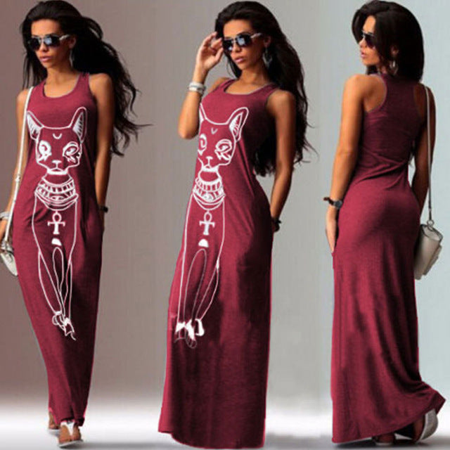 Fashion Women Summer Long Maxi Dress Casual Cat Print Boho Beach Dress Sexy Evening Party Bodycon Dress
