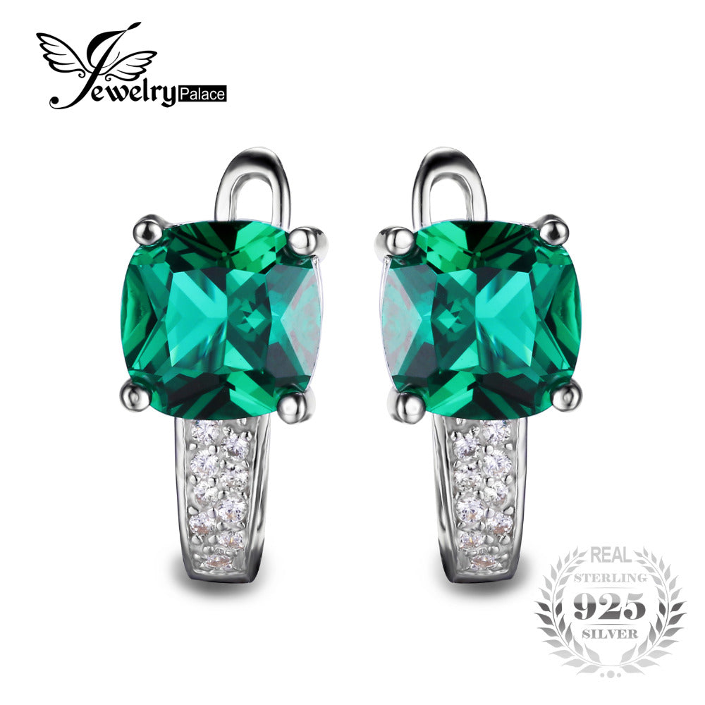 Cushion 3.1ct Created Green Emerald Clip Earrings 100% Real 925 Sterling Silver Charms Fine Jewelry For Women - Style Lavish