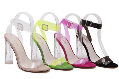 11cm Summer Women Sandals PVC Block High Heel Crystal Clear Transparent Sandals Concise Buckle Ankle Straps Pump Wedding Shoes - Style Lavish