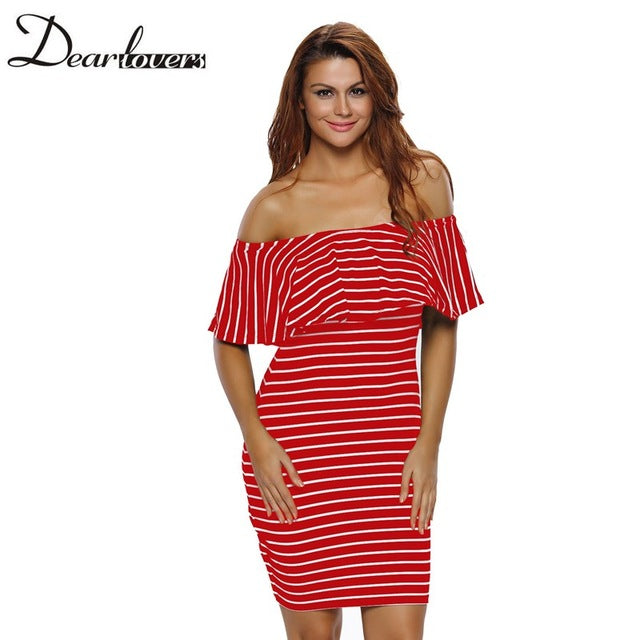 Autumn Casual Women Striped Dress Slash Neck Off Shoulder Bodycon Mini Dress - Style Lavish