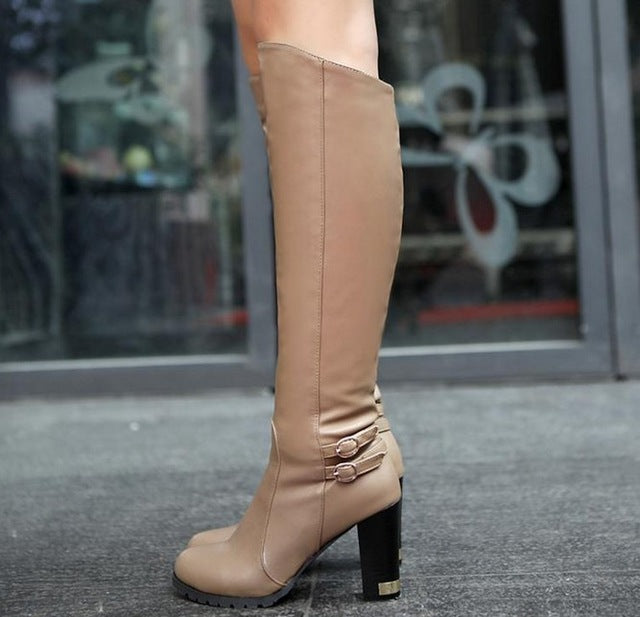 Autumn Winter High-Heeled Knee Boots Women Ankle Belt Buckle Side Zipper Knight Boots - Style Lavish