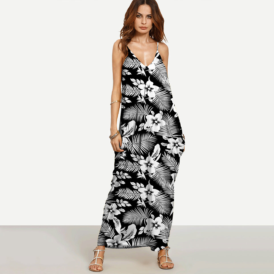 ba02432e57 ... 12 Desgins Summer Beach Long Dresses For Women Boho Black V Neck  Sleeveless Placement Print Split ...