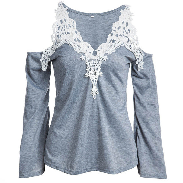 White Lace Blouses Vintage Top Shirt Long Sleeve  Women Clothes
