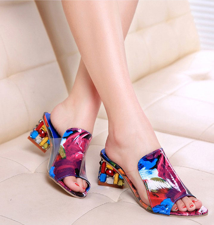 Women Sandals Summer Slippers Shoes High Heels Sandals Fashion Rhinestone Summer Shoes