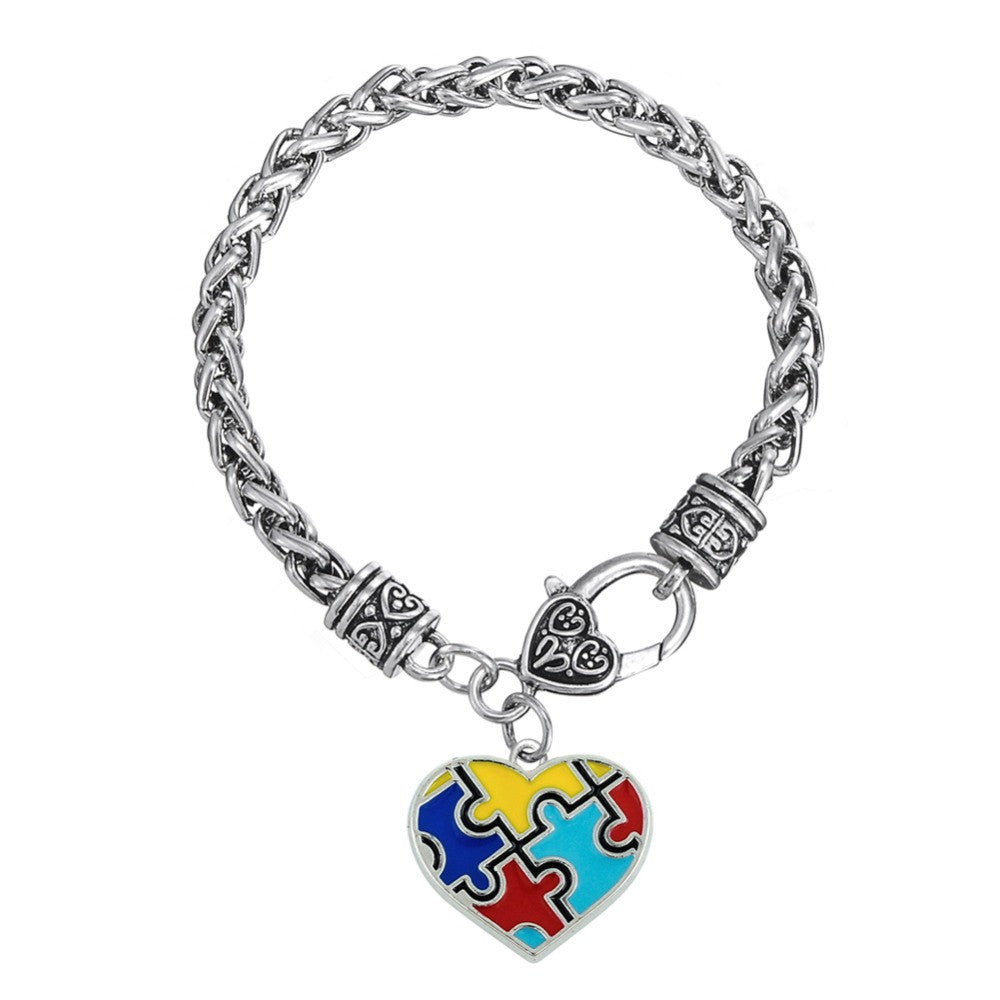 Autism Awareness Puzzle Piece Heart Shape Charm Lobster Claw Bracelet - Style Lavish