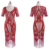 Women Vintage Fringe Tassel Flower Lace Pattern Short Sleeve Sheath Bodycon Dress - Style Lavish