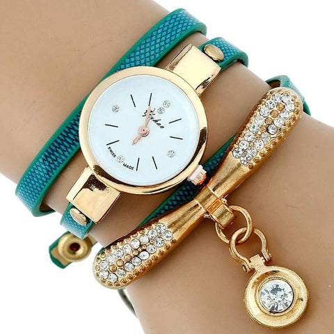 Women Fashion Rhinestone Gold Bracelet Watch Pu Leather Quartz Casual Wristwatch
