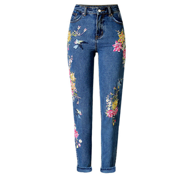 Women's Fashion Clothing Straight Long Jeans Pants 3D Flowers Embroidery High Waist  Slim Jeans Legging Trousers