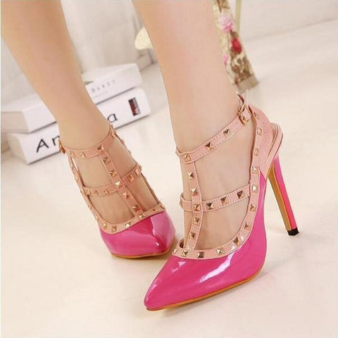 Rivets Pointed Toe High Heel Shoes