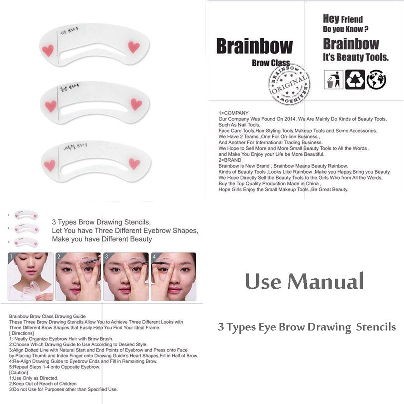 Automatic Eyebrow Pen With Brush Eyebrow Eyeliner+3 Eyebrow Shape Stencils Waterproof Longlasting 5 Colors Eyes Pencil - Style Lavish
