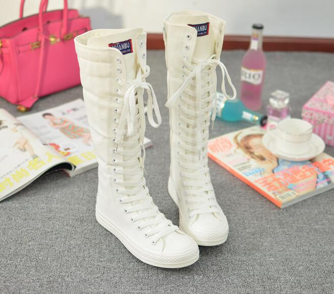 Canvas Knee High Boots Fall Winter Fashion Platform Lace Up Women Boots