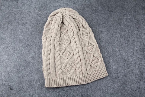 Women Fall Fashion Hats Twist Pattern Beanies Winter Gorros Knitted Warm Skullies