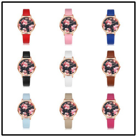 Fashion Leather Strap Rose Gold Women Watch Casual Love Heart Quartz Wrist Watch Women Dress Watches