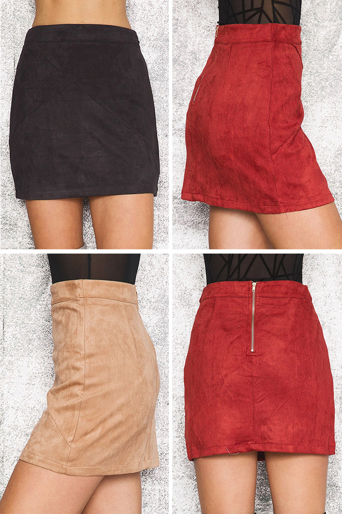 Autumn Style Casual Mini Skirt Suede Leather High Waist Sexy Pencil Zipper Split Short Bodycon Women Skirts - Style Lavish