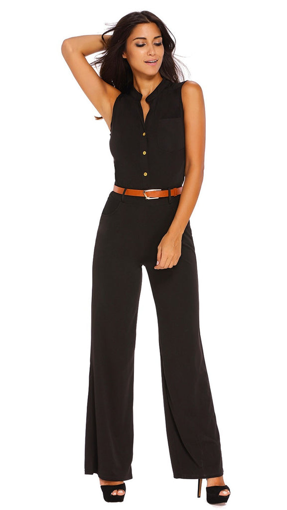 Women Summer Jumpsuit  Sleeveless Trousers Long Pants Overall Lady Jumpsuit with Belt
