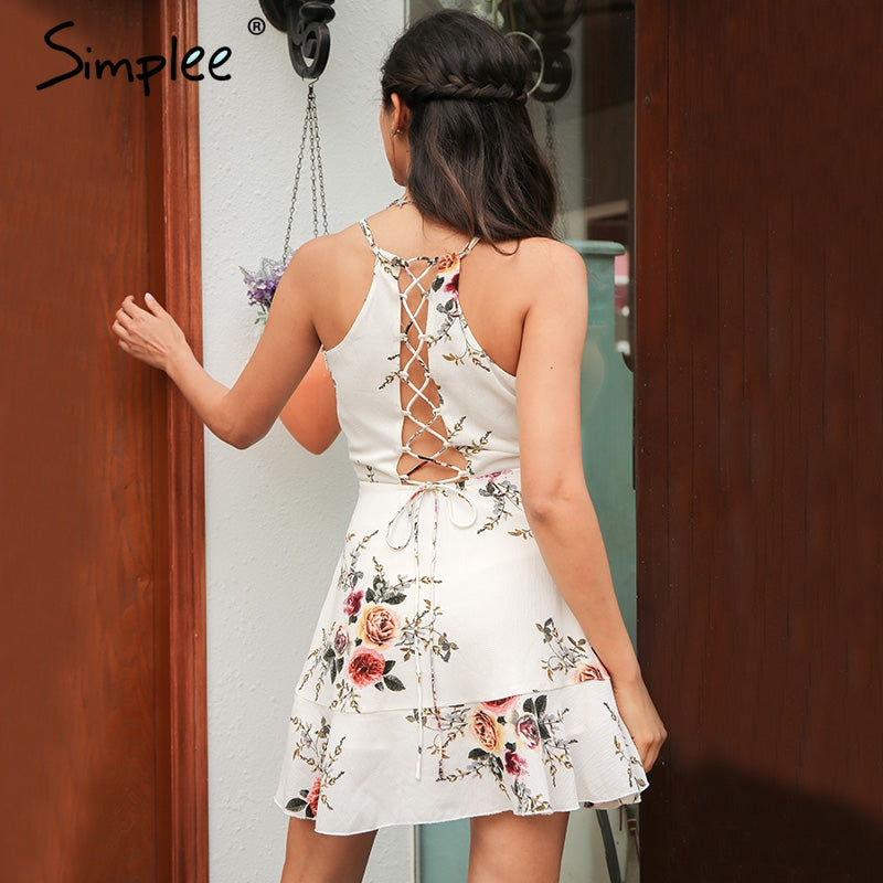 A-line Ruffles Floral Print Summer Dress Women Deep V Neck Backless Bandage Sexy Dress Casual Short Dress - Style Lavish