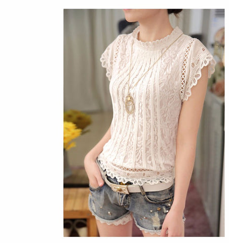 Women Summer Fashion Crochet Hollow out Lace Blouse Short Sleeve Slim Tops Shirts