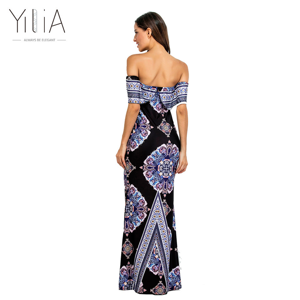 Women Boho Maxi Dress New Spring Summer Style Off Shoulder Ruffled Print Long Dresses