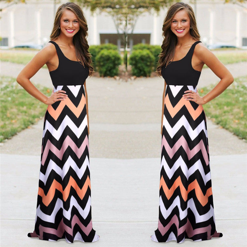 Women Summer Beach Boho Maxi Dress Striped Print Long Dresses