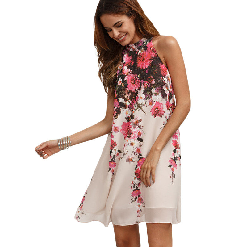 Summer Short Dresses Casual Women Multicolor Round Neck Floral Cut Out Sleeveless Shift Dress