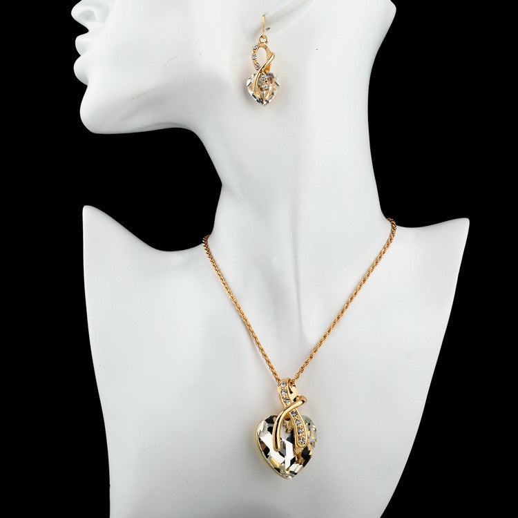 Crystal Heart Necklace Earrings Jewelery Set for Women - Style Lavish