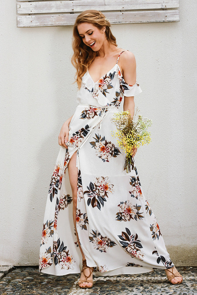 Floral Print Ruffles Chiffon Long Dress Women Strap V Neck Split Beach Summer Dress Sexy Backless Maxi Dresses - Style Lavish