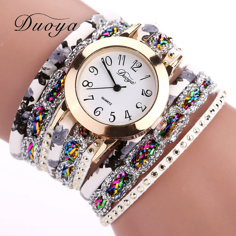 Fashion Round Dial Quartz Watch Women Flower Wristwatch Steel Luxury Bracelet Watch Multilayer Leather Wrist Watch