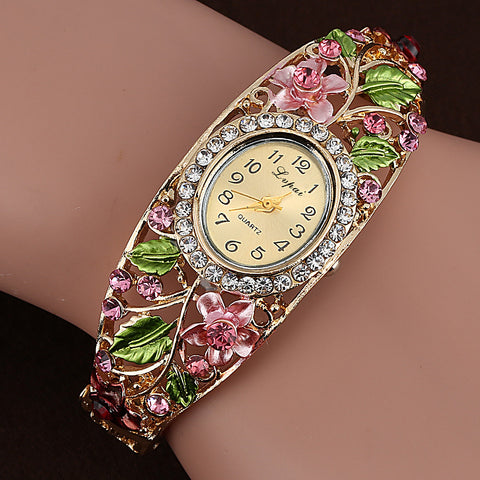 Fashion Gold Watches Bracelet Watch Women Flower Gemstone Classic Alloy Wristwatch Women Dress Watches Quartz Watch