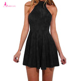 Summer  Dress Woman Party Bandage Lace up Off Shoulder Sexy Backless Casual Solid Pleated Mini Dress - Style Lavish