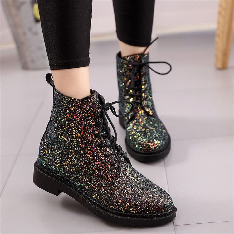 Women Autumn Glitter Lace up Boots Casual Ankle Boots Heels Shoes
