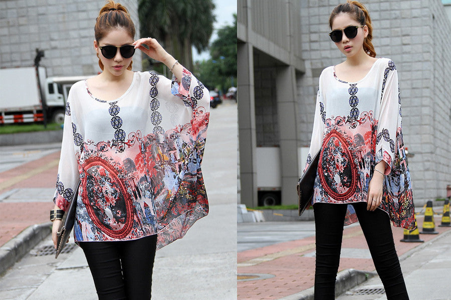 Summer Tops Women Fashion Vintage Bohemian Clothing Batwing Sleeve Chiffon Blouse Shirt  For Women